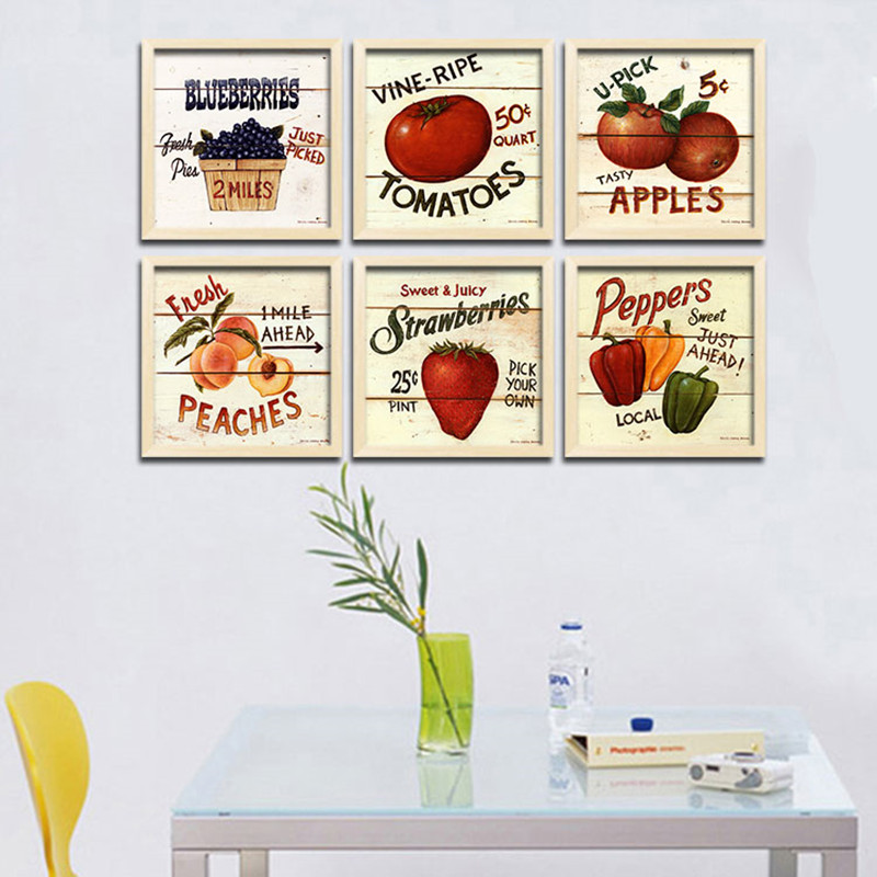 Retro Art Canvas Painting Poster Fruits Vegetables On