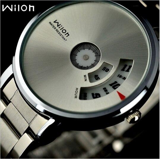 Montre-bracelet D'origine Veyron Wilon mode véritable acier bande Platine Cadran quartz montre étourdi hommes montres relogio masculino