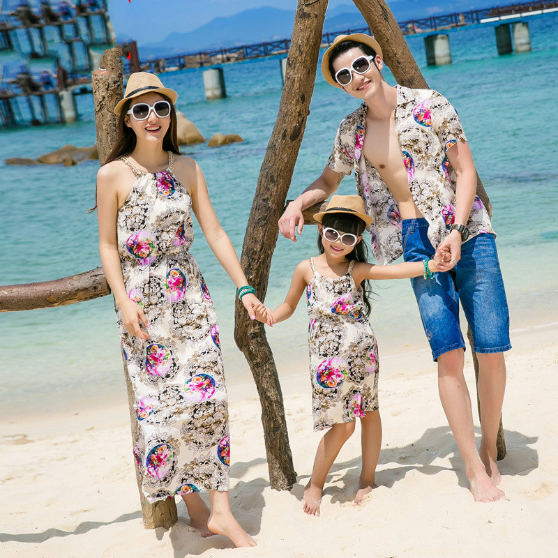 9d36a1aa8f 2016 New Parent-Child Outfit Xia Guting Of Mother And Son And Daughter  Lovers Beach Bohemian Beach Dress Skirt The Seaside Holid