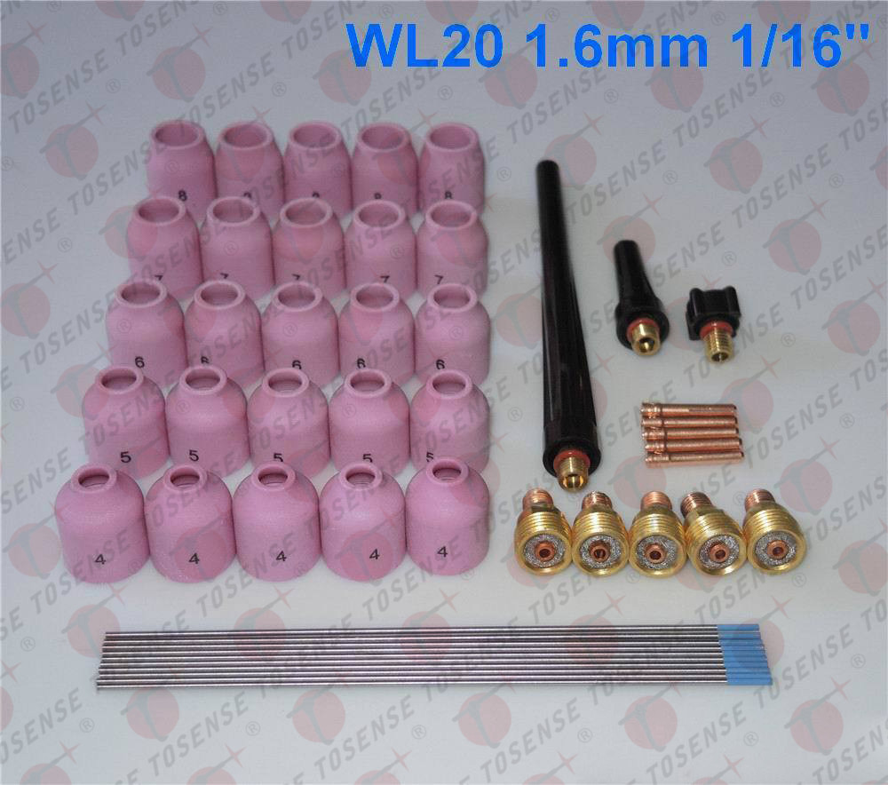 48pcs TIG Welding Kit Gas Lens for Tig Welding Torch WP-9 WP-20 WP-25 WL20 1/16  цены