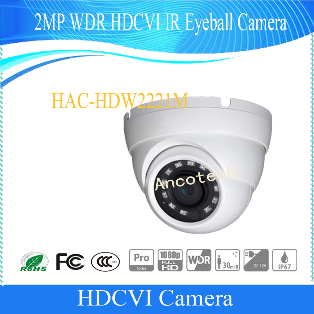 Free Shipping DAHUA CCTV Security Camera 2MP 1080P FULL HD WDR HDCVI IR Eyeball Camera IP67 Without Logo HAC-HDW2221M dahua security camera cctv 2mp full hd wdr hdcvi ir bullet camera ip67 without logo hac hfw2221s