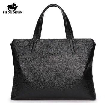 """BISON DENIM Genuine Leather Men Bag 14"""" Laptop Men Messenger Bag Casual Shoulder Crossbody Bags Leather Handbags For Men N2697"""