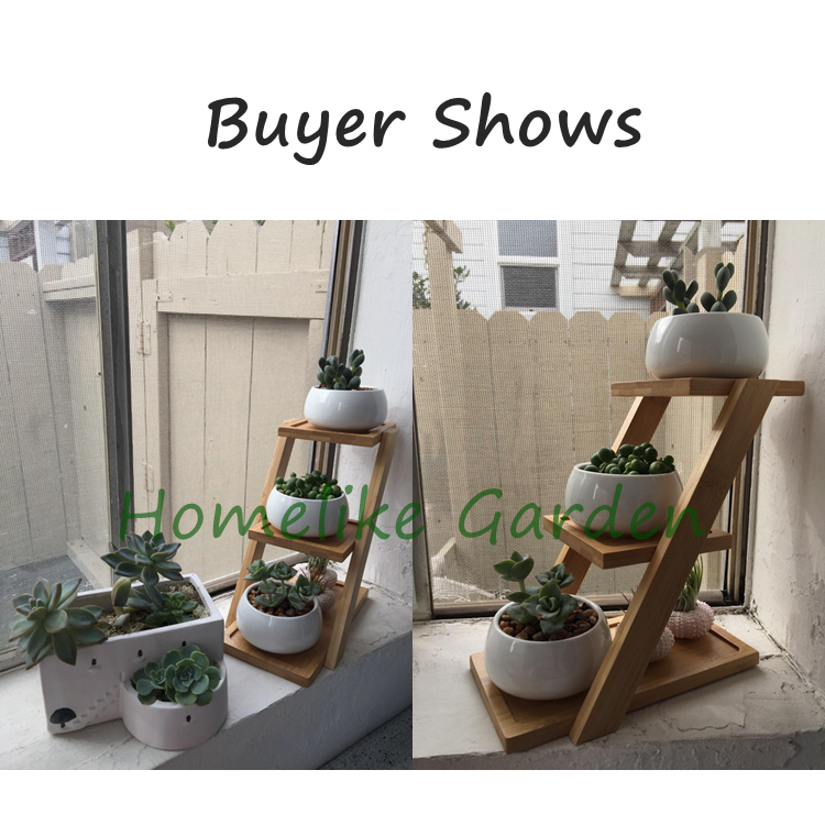 3 White Ceramic Flowerpots With  Bamboo Shelf  Garden Decor