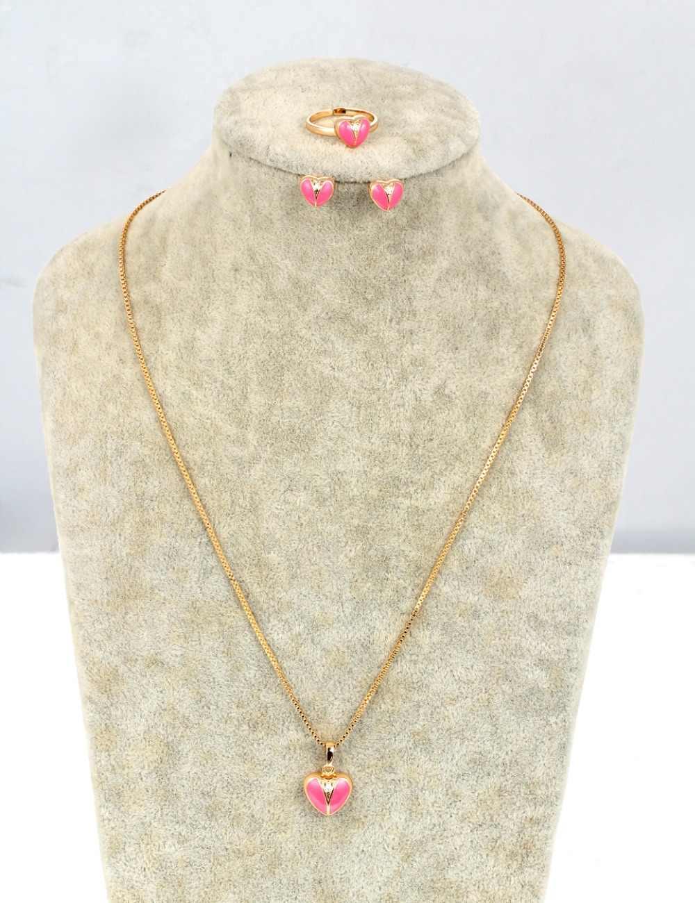 Gold Farbe Rosa Pfirsich Liebe Herz CZ Zirkon Ohrstecker Ring Anhänger Halskette Kleine Schmuck Sets Für Kinder Mädchen Kid Baby