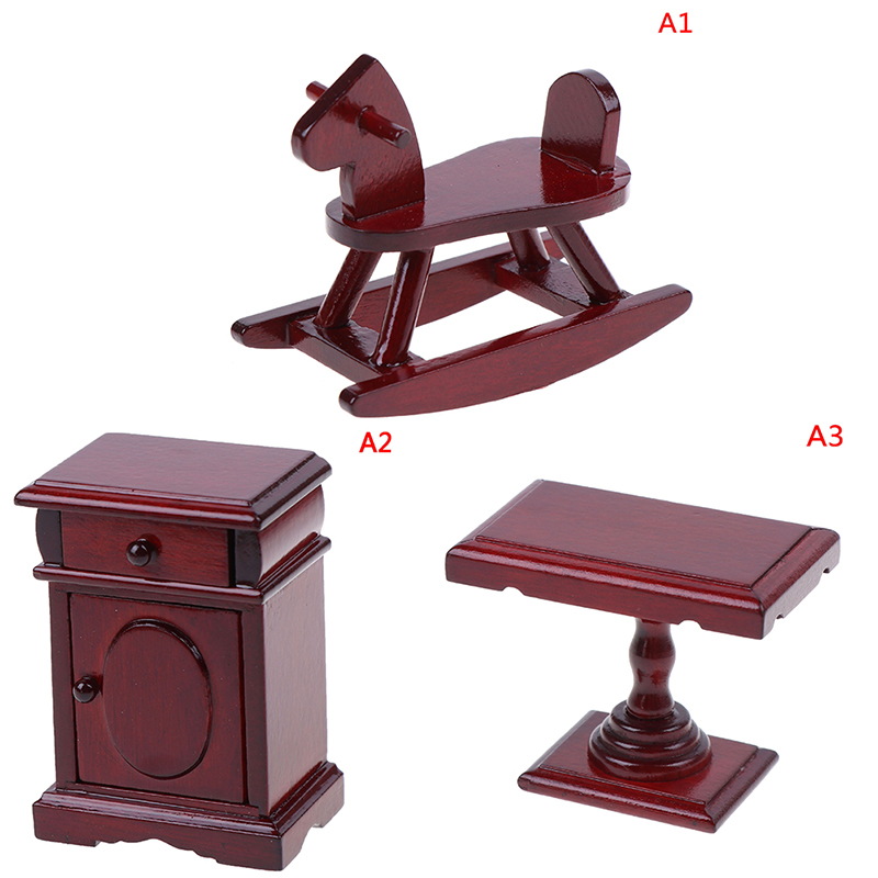 New 1:12 Doll House Accessories Toys For Children Dollhouse Miniature Wooden Rocking Horse Chair Nursery Room Furniture Toy