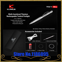 KLARUS TP20 Ti Titanium Rechargeable tactical pen light CREE XP G3 LED for Self defense writing torch with 10180 Li ion battery