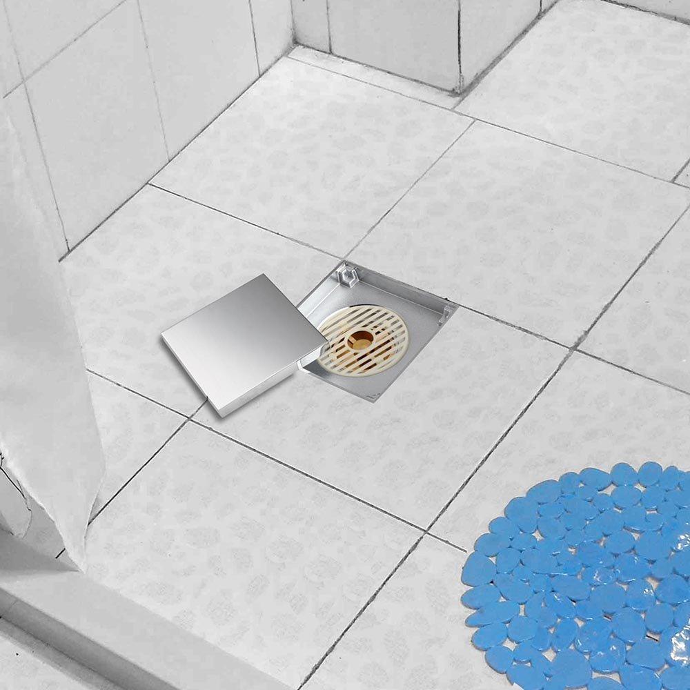 Bathroom Soild brass 4x4 inches Square Shower Floor Drain,Chrome ...
