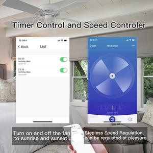 Image 5 - AB/ABD Tuya Akıllı Yaşam WiFi Akıllı tavan vantilatörü Anahtarı APP Uzaktan Zamanlayıcı ve Hız Kontrolü ile Uyumlu Alexa ve google Ev
