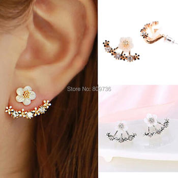 Cute Fashion Flower Crystal Front and Back Ear Jacket Earrings For Women Gold Silver Plated Daisy Jewelry High Quality золотые серьги по уху