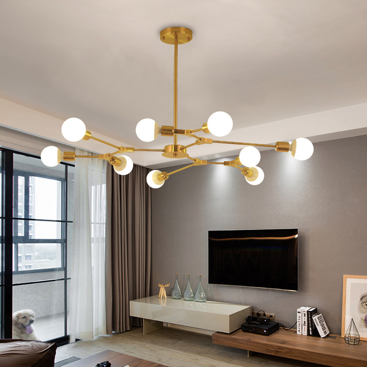 Modern Art Tree Branch Pendant Lamp Black Gold Suspension