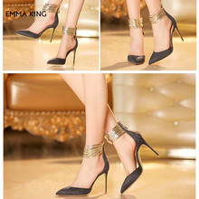 0c0509dfdcf Dark Grey Closed Toe Sandals Gold Ankle Strap Stiletto Heel Shoes  Spring Autumn Plus Size