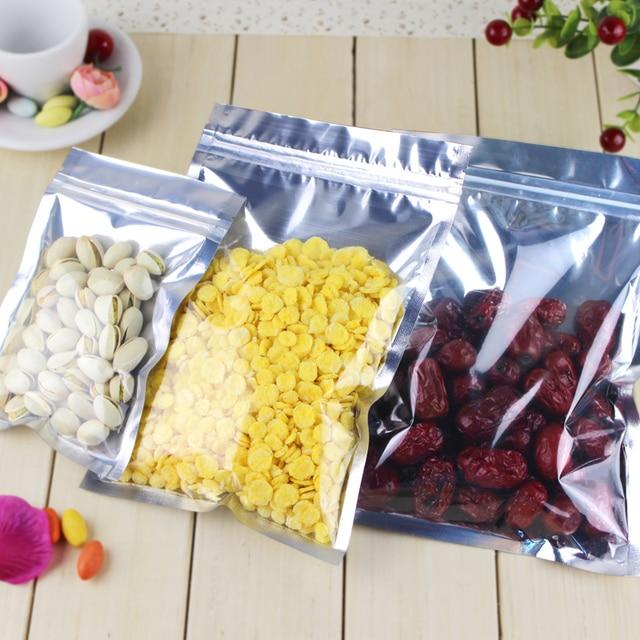 11 17cm translucent aluminium foil zip lock bag self sealing food packaging bags moisture