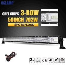 Oslamp 50″ 702W LED Light Bar Offroad 4×4 Led Bar Lights 3-Row Led Work Light Bar Combo Beam DC12v 24v for Jeep Truck Pickup 4WD