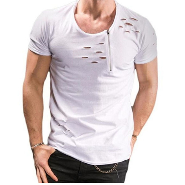 4295b845f 2018 New Summer T Shirt Men Plus Size 3XL Ripped Hole T-shirts Men Zipper  Breathable Casual Tees Men s T Shirt