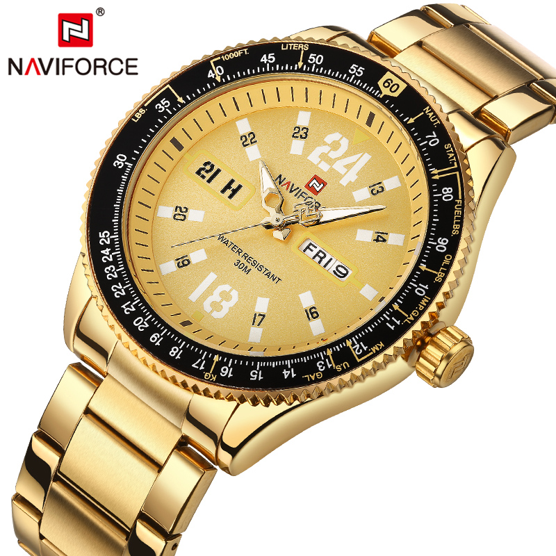 Mens Watches Top Luxury Brand Full Steel Watch Men Gold Quartz-watch Waterproof Sports Army Military Wristwatch NAVIFORCE New