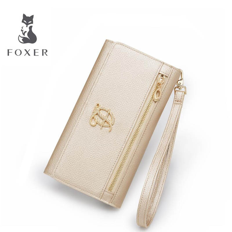 FOXER Long Wallet Women Clutch-Bag Designers Fashion Buckle New