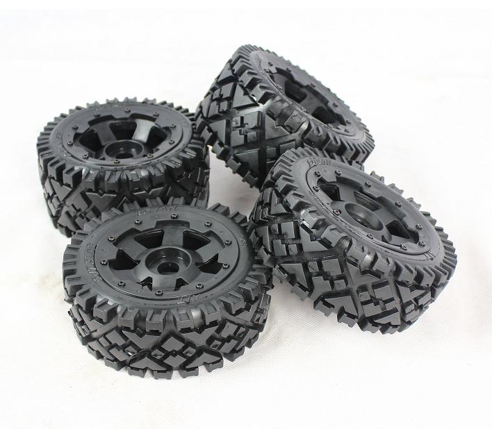 Buggy All Terrain Wheelstire Front And Rear Wheel Assembly Set Fits HPI KM Baja 5B SS 2.0 Rovan RC Car Parts buggy sand paddle wheels fits hpi baja 5b ss 2 0