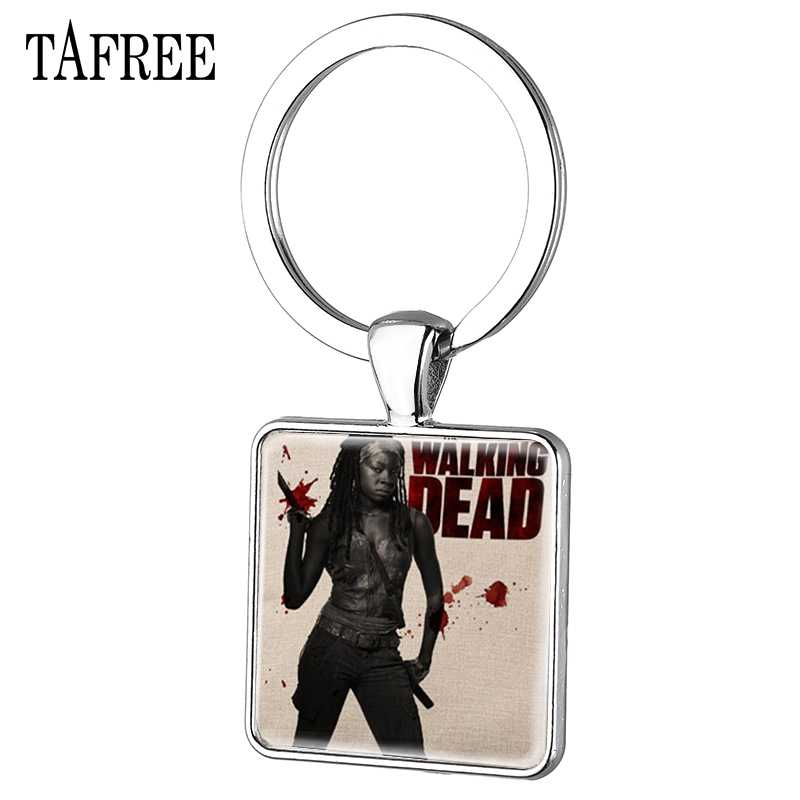 TAFREE Classic Movie The Walking Dead Square Keychain Punk Keep Calm And Kill Zombies Pendants Key Chain Jewelry QF177