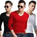Trendsetter Show2015 top Marca de moda Para Hombre de La Camiseta ropa de la Aptitud de Los Hombres V-cuello de la Camiseta de Manga larga de lujo Delgado sólido