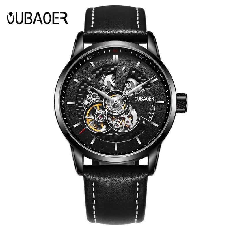 Hommes de montres OUBAOER automatique mécanique montre en cuir horloge d'affaires décontractée montre top marque montre de sport relogio masculino