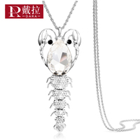 DARA 2017 New Trendy Silver Color Personality Shrimp Pendant Necklace Fashion Elegant Crystal Long Necklace Woman
