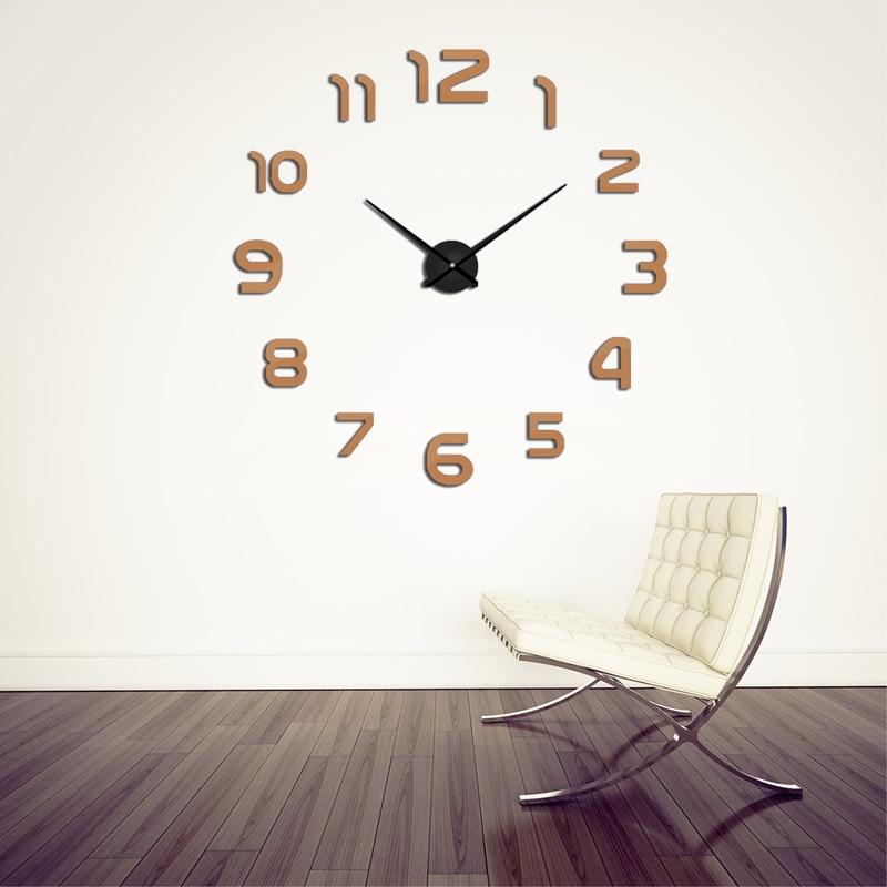 2019 Nuevo Metal Moderno DIY Reloj de pared Acrílico Metal Espejo Reloj de pared Decoración del hogar Super Big Clocks130cm x130 cm Envío gratuito
