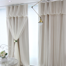 Custom Princess Beauty Korean Brand Blacckout Shade Curtain Girl's Bedroom Lace Sheer Tulle Curtain Living Room Window Curtains