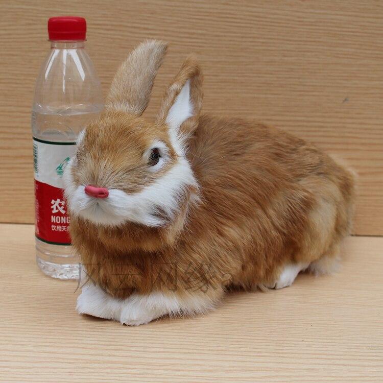 Grand jouet de lapin belle simulation polyéthylène et fourrures modèle de lapin jaune environ 34x15x22 cm 1690