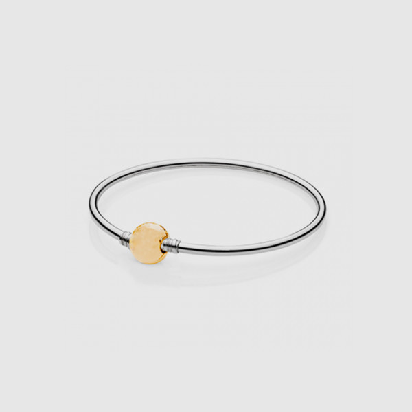 New 925 Sterling Silver Jewelry Bangle Bracelet with A Round Barrel Gold Plated Clasp Handmade Bracelet Women Jewelry
