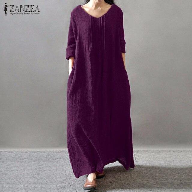 Женщины Элегантное Платье 2016 Осень ZANZEA V Шеи Длинным Рукавом длиной до пола, Случайные Свободные Твердые Ретро Макси Длинные Платья плюс Размер