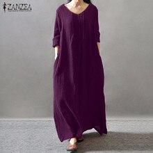 Для женщин элегантное платье 2018 осень ZANZEA V Средства ухода за кожей шеи с длинным рукавом длиной до пола Повседневное свободные однотонные в ретро стиле длинное Vestidos плюс размеры