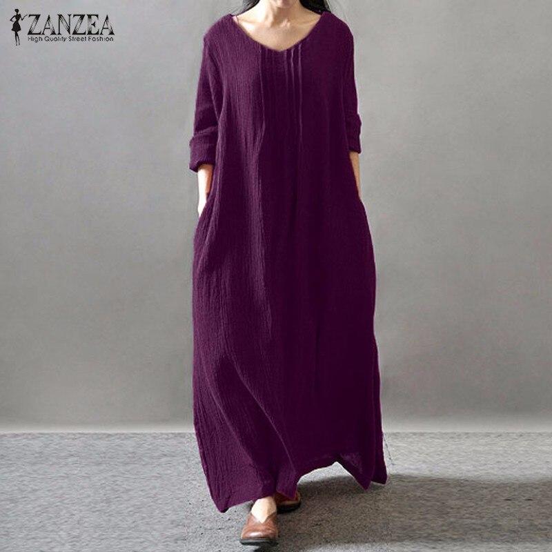 Zanzea mujer elegante dress 2017 otoño v cuello piso-longitud de manga larga cas