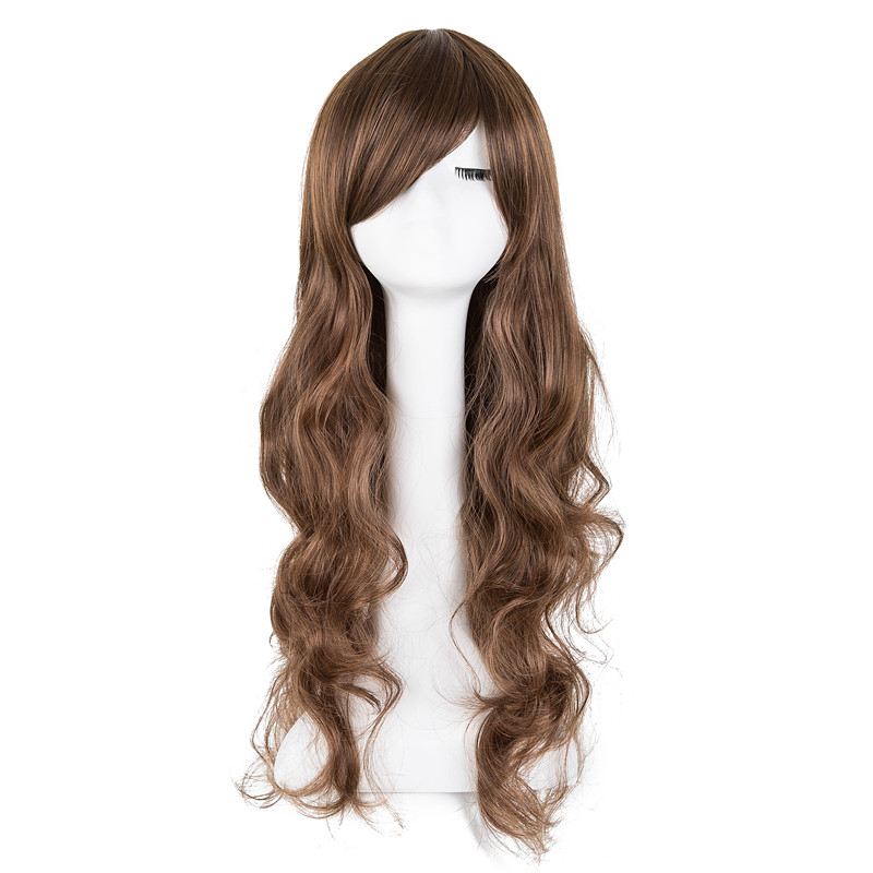 Synthetic Wigs Hair Extensions & Wigs Cosplay Wig Fei-show Synthetic Heat Resistant Fiber Long Curly Inclined Bangs Hair Women Halloween Costume Cos-play Hairpiece Neither Too Hard Nor Too Soft
