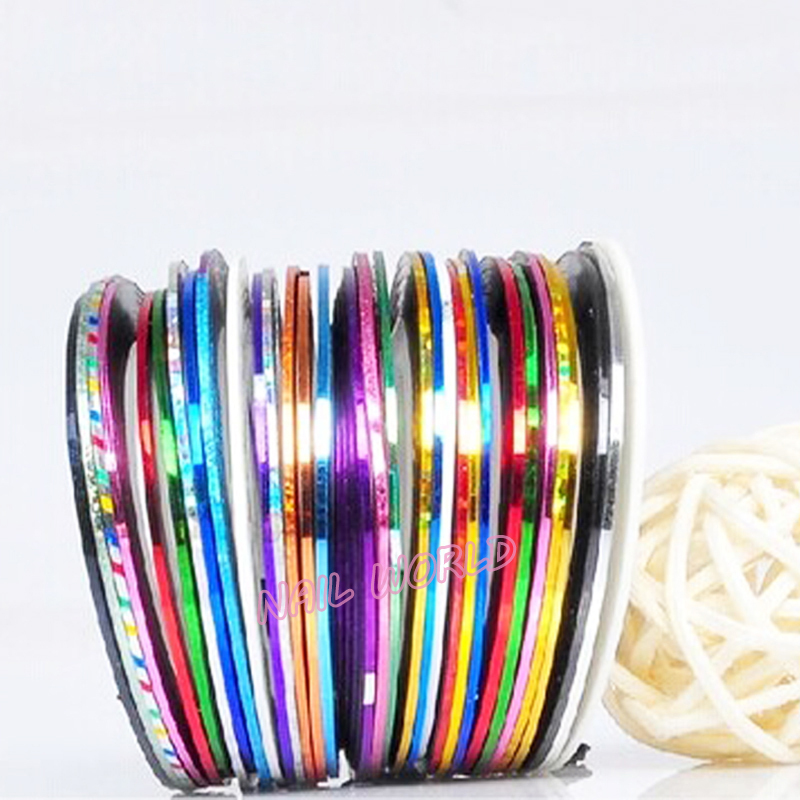 3d Nail Stickers.10pcs lot Gold Silver Metallic Mixed Colors Rolls Nail  Striping Tape Line eb548a1a46b2