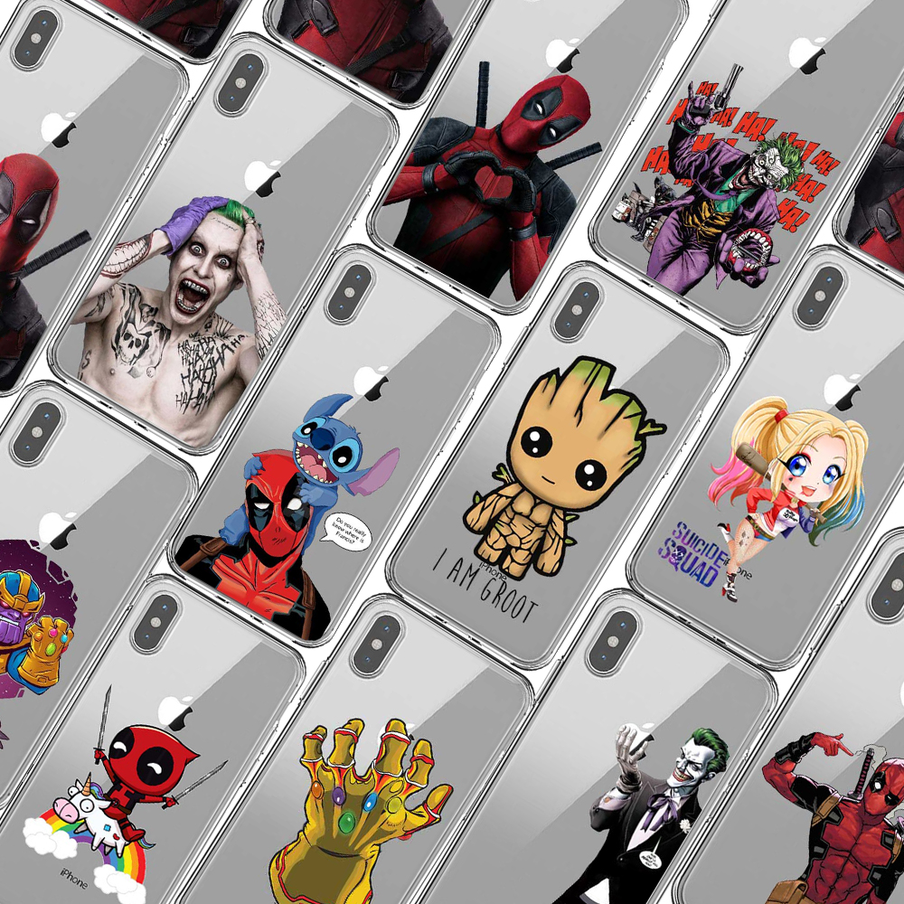 For iphone X 5 5S Deadpool Spiderman Avengers Hard Plastic