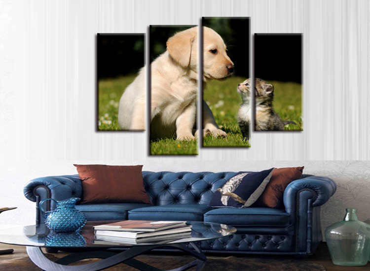 4 pieces / set  Printings Cat and Dog  Animal Sprout Pet Series Expression Poster Printing Canvas Art Living Room Decor