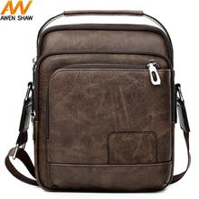 купить Awen Shaw Simple Design Leather Satchel Bag For Men PU Leather Shoulder Bag Business Crossbody Bags Casual Man Messenger Bag по цене 775.71 рублей