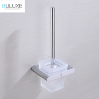 BULUXE Luxury Solid Brass Chrome WC Toilet Brush Holders With Glass Cup Wall Mounted Bathroom Accessories HP7740