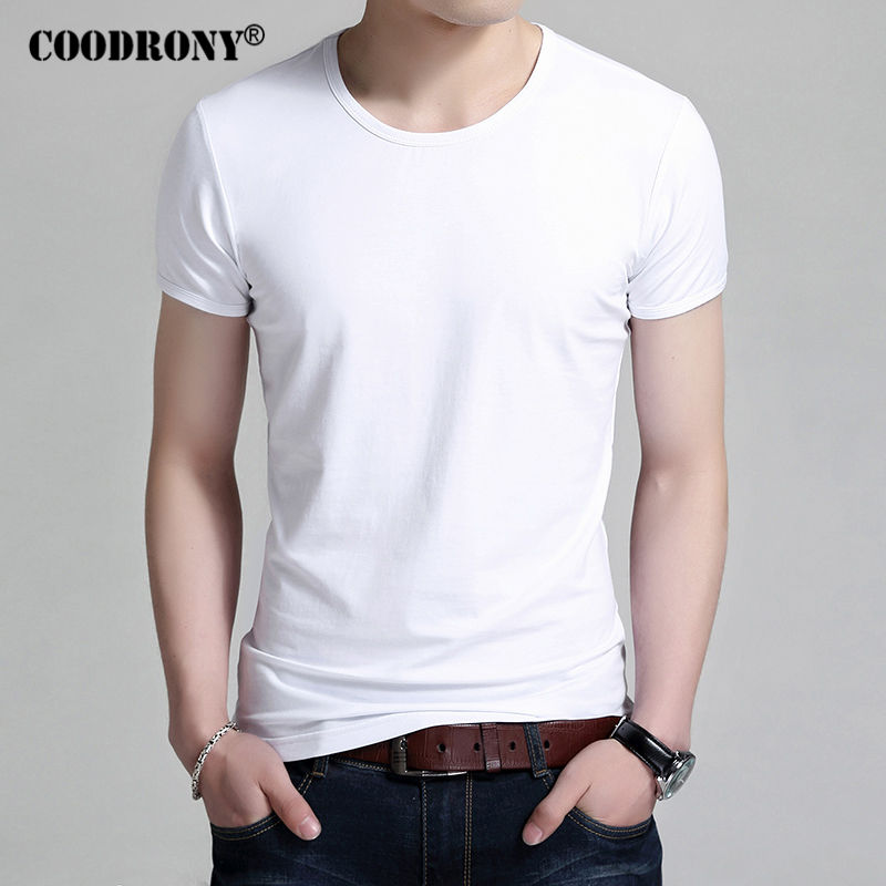 COODRONY   T     Shirt   Men Brand Clothing 2017 New Summer Short Sleeve   T  -  Shirt   Men Cotton O-Neck Tshirt Men Casual White Top Tee S7601