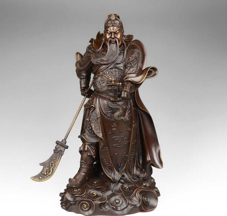 Free Shipping China Pure Red Copper 2 Finger Guan Gong Guan Yu Buddha Hold Dragon Sword Statue