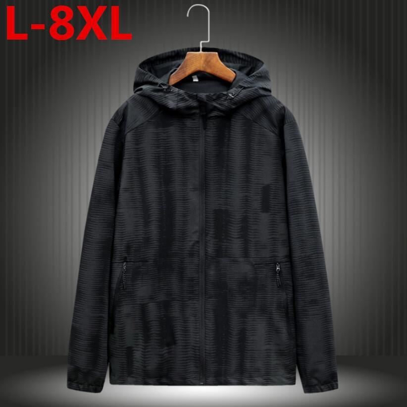 2018  big  size Fashion High Quality Jacket Coats Men Casual Hooded Jacket Men Thin Windbreaker Zipper Coats Outwear 8XL 7XL 6XL