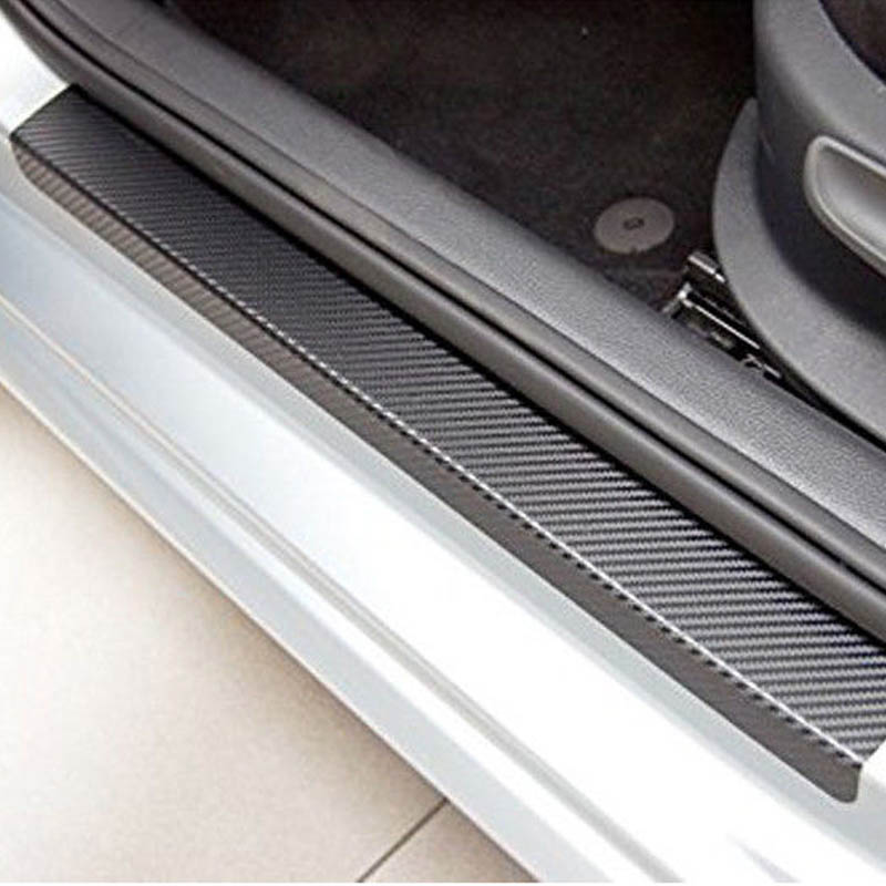 New Hot Universal 4 Pcs/Set 3D Black Carbon Fiber Style Car Door Sill Sticker Step Decoration Cover Decal DXY88 best top selling new stylish decal carbon fiber skin sticker for xbox one console