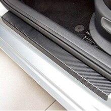 New Hot Universal 4 Pcs Set 3D Black Carbon Fiber Style Car Door Sill Sticker Step