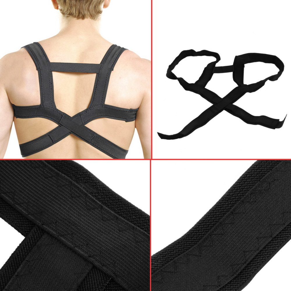 2PCS APTOCO Elastic Posture Corrector Support Back Brace with Breathable Straps Clavicle Support Brace Belt for Men Women