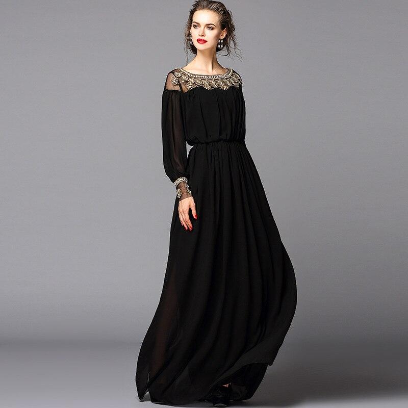 New 2016 Black Dress Sexy Fashion Women Luxury Beading Diamonds Floor Length Maxi Long Party Dresses