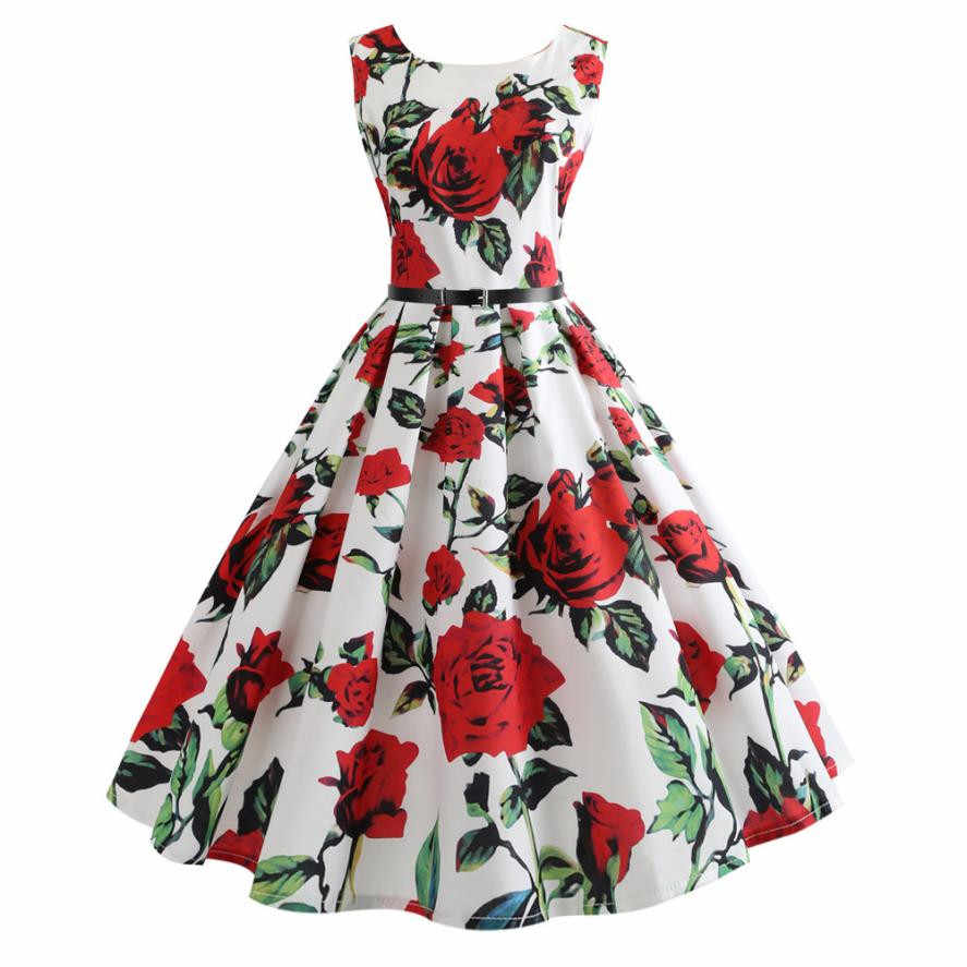 8bc93375fd6f0 White Foral Printing Ball Gown Dress Women Vintage Bodycon Sleeveless  Casual Party Dress O Neck Knee Length Dress Sundress#21