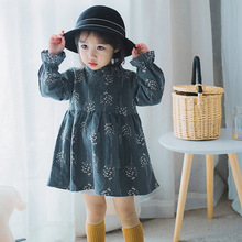 Childrens wear girls dress autumn long-sleeved small floral cotton childrens princess dresses