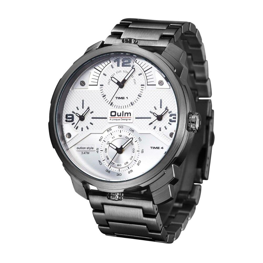 Montres à Quartz pour hommes de marque Oulm montres de sport pour hommes en acier à quatre temps