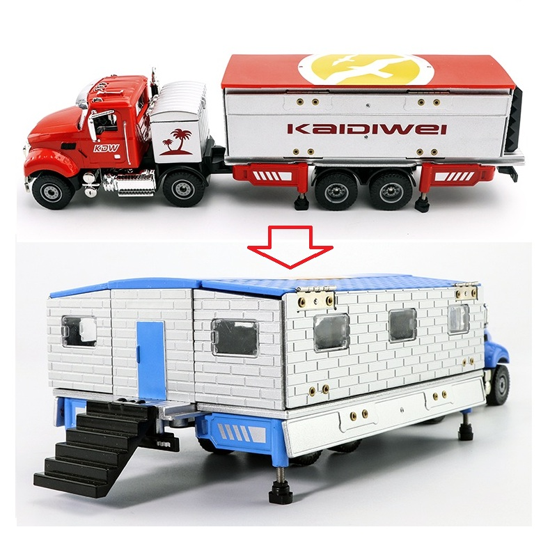 DieCasts RV Models For 1-Floor House Design(24.5Cm Body)House Deformation & Kid Enjoy DIY Toys Metal Recreational Vehicle Model