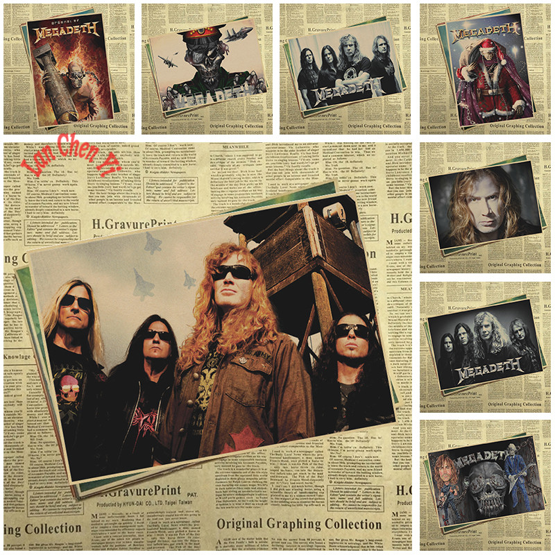 Megadeth Band Classic Nostalgic Matte Kraft Paper Poster Office Gift Room Dining Home Decor wall sticker Design